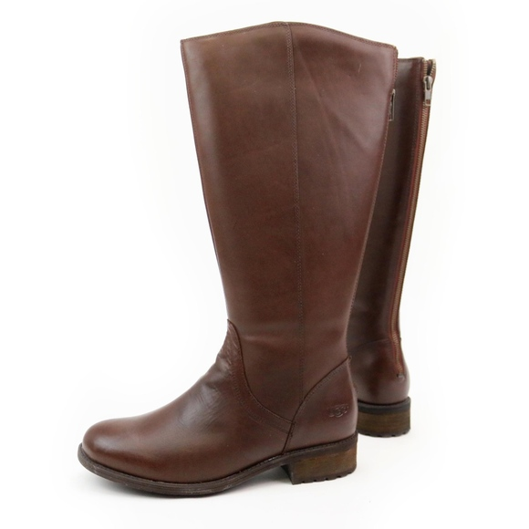 f08a8b7351a UGG Seldon Dark Chestnut Tall Leather Riding Boots Boutique